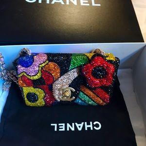 Authentic Chanel Mini Swarovski Crystal 3D bag